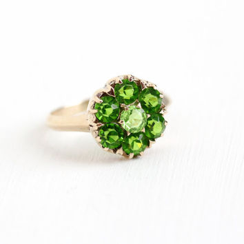 Vintage 10k Rose Gold Simulated Peridot Cluster Ring - 1940s Size 8 Light Green Glass Stone Flower Halo August Birthstone Fine Jewelry