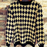 """""""Balmain"""" Unisex Fashion Personality Multicolor Tartan Print Long Sleeve Pullover Sweater Couple Buttons Decoration Casual Tops"""