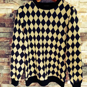 """Balmain"" Unisex Fashion Personality Multicolor Tartan Print Long Sleeve Pullover Sweater Couple Buttons Decoration Casual Tops"