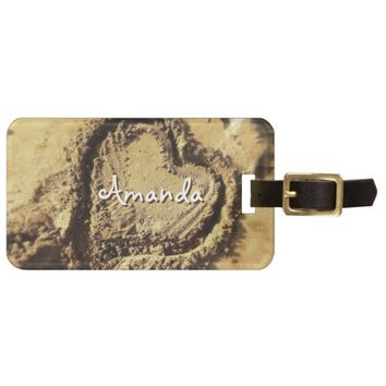 Heart in golden sand photo custom name luggage tag