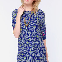 Prints Charming Blue Print Shift Dress