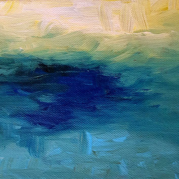 "Original Abstract Art Painting KR Moehr ""Water's Edge"" Wall Table Decor - Small Deep Canvas FREE SHIPPING"