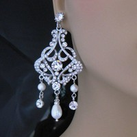 Bridal Earrings, Chandelier Rhinestone Swarovski Pearls CZ Weddi - Wedding Jewelry | Handmade
