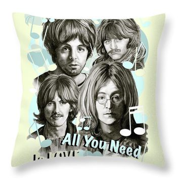 Beatles All You Need Is Love Throw Pillow