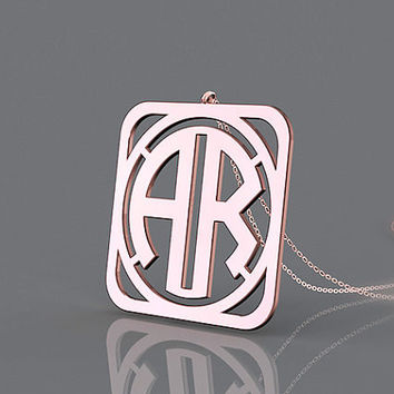 Personalized rose gold plated two initial block 1.25 inch  monogram necklace jewelry