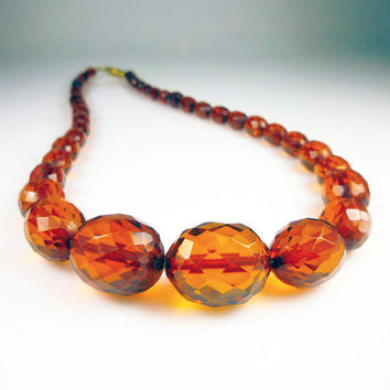 Vintage Necklace Cherry Amber Graduated Bead Gold Filled Silver Jewelry