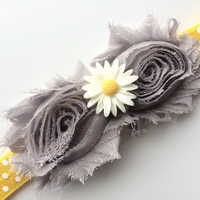 Gray and Yellow Headband for Girls - Gray Shabby Flower Headband -Yellow Polka Dot Headband Photo Prop -Yellow and Gray Head Band for Spring