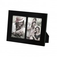 Adeco Decorative Black Wood Divided Picture Photo Frame, Wall Hanging or Table Top Display, 2 Openings, 3.5x5""