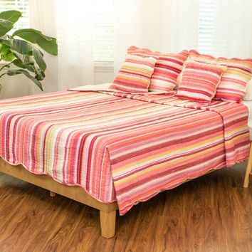 DaDa Bedding Stunning Stripes Red & Pink Scalloped Coverlet Bedspread Set (DXJ101824)