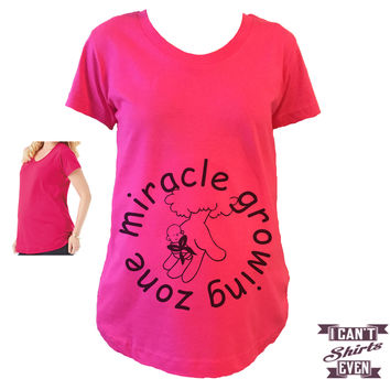 Miracle Growing Zone Pregnancy Tee. Pregnancy Announcement Shirt. Maternity Shirt. Tshirt.