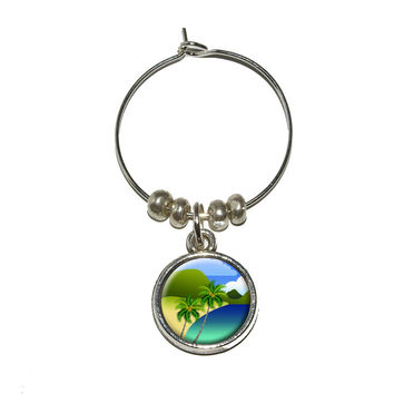 Tropical Paradise - Travel Palm Tree Wine Glass Charm