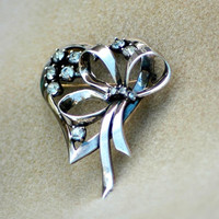 Ciner Sterling Silver Rhinestone Heart Ribbon Brooch Vintage
