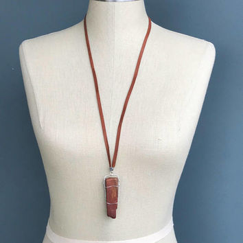 Handmade Silver Plated Wire Wrapped Locally Sourced Large Raw Brown Petrified Wood Stone Deerskin Leather Necklace 31 inch