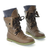 Fashion Vintage Lace up Women Motorcycle Winter Snow Boots,All year round boots = 1946224260