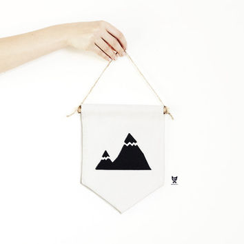 Mountain Wall Canvas Banner, Minimalist Hanger,  Home Decoration