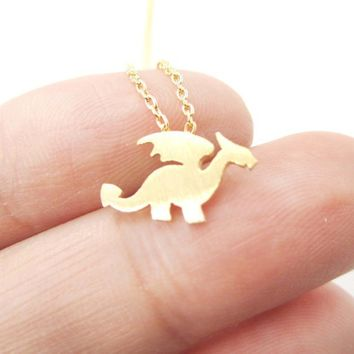 Dragon with Wings Silhouette Shaped Charm Women Gold Silver Necklace Handmade Animal Jewelry Cute Pendant Necklace