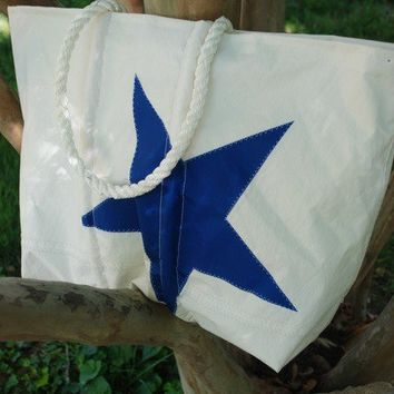 Recycled Sail Beach Bag with a Blue Star by BeeHiveDesign on Etsy