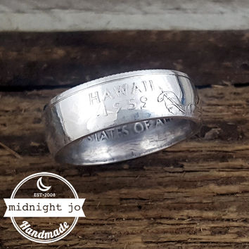 Hawaii 90% Silver State Quarter Coin Ring