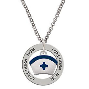 Nurse Hat with Blue Cross Longhorn Mom Affirmation Ring Necklace