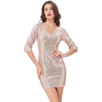 Gold Sequins Cocktail Dresses Knee Length Ladies 3-4 Sleeve V-Neck Formal Gowns Short Cocktail Party Dress