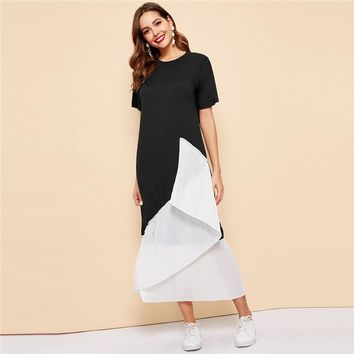 Black and White Splice Pleated Hem Longline Modest Dress Women Color-block Abaya Loose Maxi Dresses