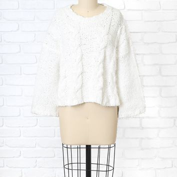 White Fuzzy Cable-Knit Sweater