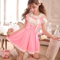 S/M/L Pinky Dolly Lace Strap Dress SP152350