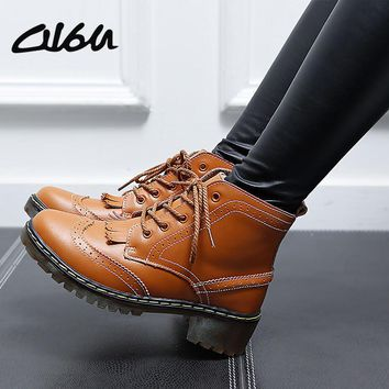 O16U Women Brogue Ankle Boots Shoes Genuine Leather Tassel Pointed Cow Muscle wedge Me