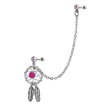 Bling Jewelry Pink Dream Catcher Cartilage Earring Dangle with Chain 316L Steel