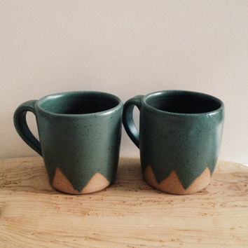 Pair of Green Mountain Ceramic Mugs, wheel thrown coffee mugs, stoneware ceramic speckled pottery mug set with geometric mountain design