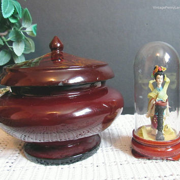 Vintage Lacquered Trinket Box and Geisha Figure Under Glass Dome, Asian / Oriental Decor