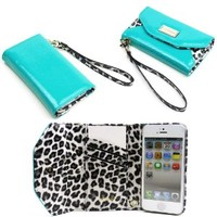 JAVOedge Turquoise Leopard Slim Folding Clutch Wallet Case / Card Holder with Wristlet for the Apple iPhone 5S / iPhone