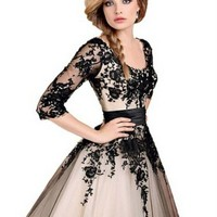GKD Woman's Long Half Sleeves Lace Evening Dresses