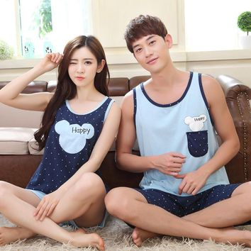 High Quality Couple Pajama Set Femme Summer PiIjamas Polka Dot Women Pyjamas Blue Men Pajamas Home Clothes For Lovers Sleepcloth