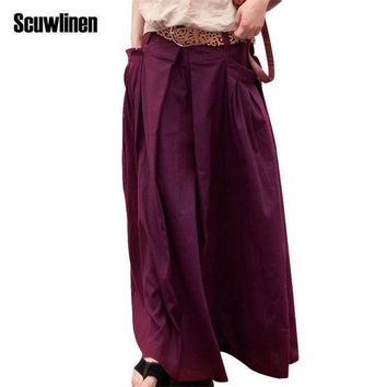 Scuwlinen 2017 Women Skirts Saias Femininas Plus Size Linen Skirts Pleated Pockets Casual Maxi Skirt Long Skirts Women  S07