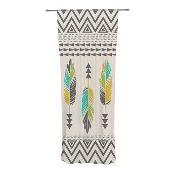 "Amanda Lane ""Painted Feathers Cream"" Tan Tribal Decorative Sheer Curtain"
