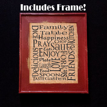Family Table 8x10 Original Tan Burlap Print with Rustic/Country Frame, Kitchen Table, Home, Wall Decor