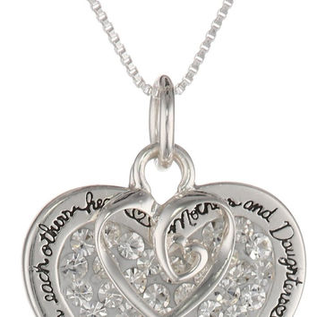 "Sterling Silver ""Mother and Daughter"" Sentiment Pave Crystal Pendant with Heart Charm Necklace, 18"""