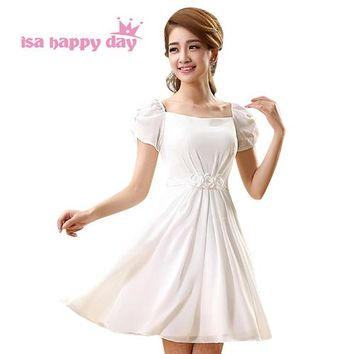 special occassion short sleeved modest ivory zipper dress beautiful new 2017 girls clothes prom dresses for teens 2018 H731
