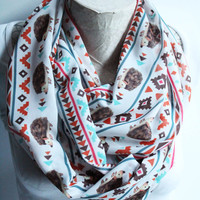 Hedgehog Scarf, Tribal Hedgehog Scarf, Ethnic Boho Scarf,  Hedgehog Infinity Scarf, Fashion Scarf, Women Accessories, Gift for Her