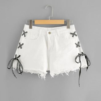 Lace Up Detail Denim Shorts Women Summer Mid Waist Button Fly Shorts White Twin Pockets Jean Shorts Women Summer Shorts