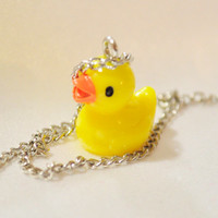 Yellow rubber duck charm pendant necklace