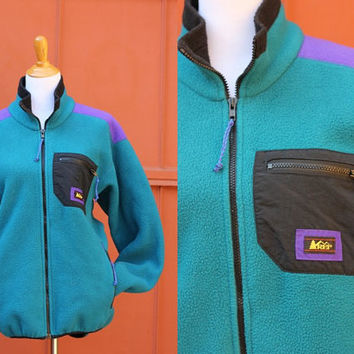 Vtg 80's REI Fleece Jacket  Color block teal purple Mens large Womens XL Made in USA Outdoor Camping Active