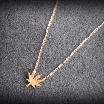 Gold Pot Leaf Necklace, Dainty Leaf Charm, Marijuana Charm, Weed Necklace, Birthstone Option, Small 7 Leaf Cannabis Charm, Hippie Necklace