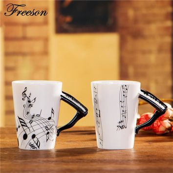 Personalized Piano Music Bone China Mug 240ml Ceramic Coffee Cup Tea Cup Porcelain Zakka Novelty For Gift Cafe Teatime Office