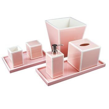Paris Pink Lacquer Bathroom Accessories