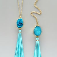Aqua Druzy Tassel Necklace