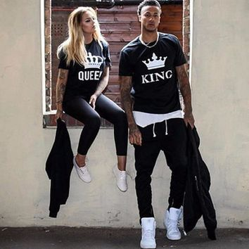 Trendy Summer Lovers Tshirt KING QUEEN Imperial Crown Couple T-shirt Women Men Funny Letter Print T Shirts loose summer top women AT_94_13