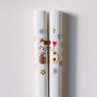 Japanese Chopsticks Maneki Neko White