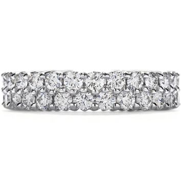 A Perfect 4.2TCW Solitaire Cut Russian Lab Diamond Wedding Band Eternity Ring